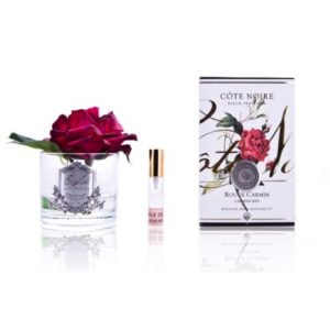 Côte Noire Perfumed Rose Carmine Red Clear Glass