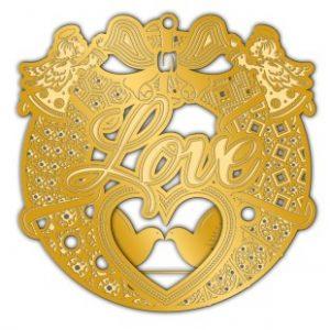 Adornment Gold Xmas Love Ornament