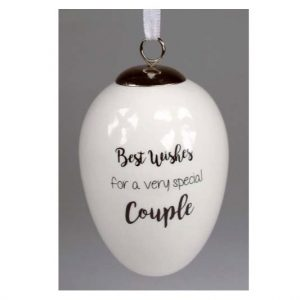 Best Wishes Couple Ceramic Egg