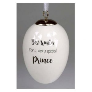 Best Wishes Prince Ceramic Egg