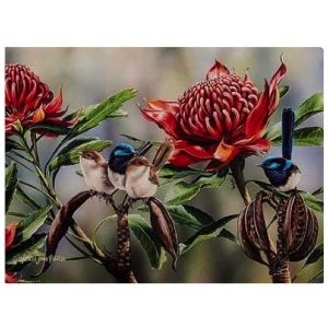 Australian Bird And Flora Blue Wren Tea Towel