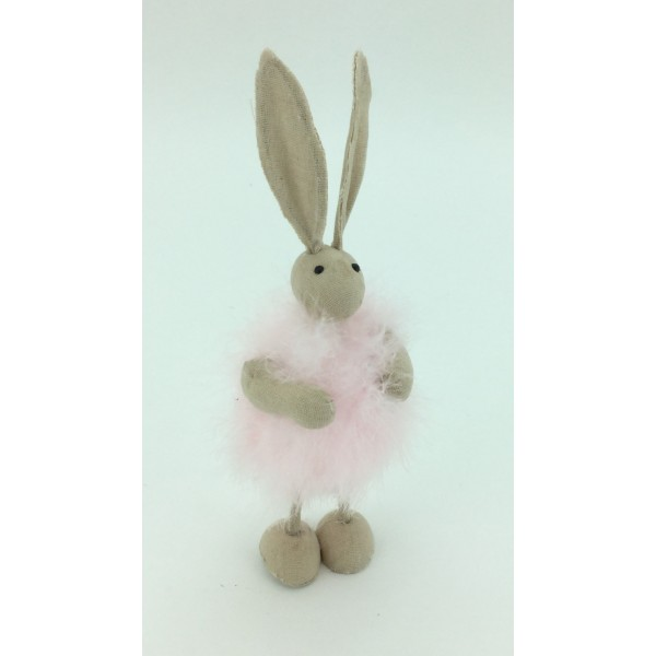 Pink Fluffy Bunny Standing Ornament
