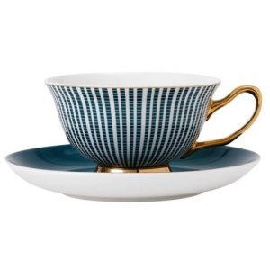 Ashdene Parisienne Teacup and Saucer Midnight Green