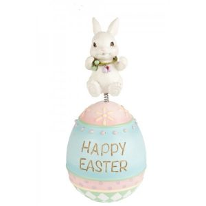 Bunny On Happy Easter Egg Figurine