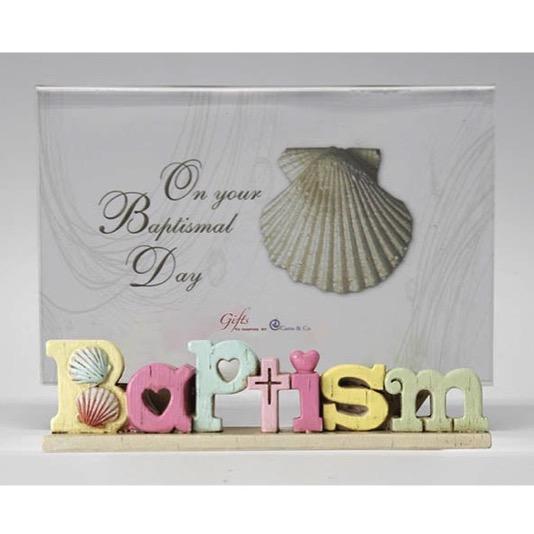 Colourful Words Baptism Photo Frame
