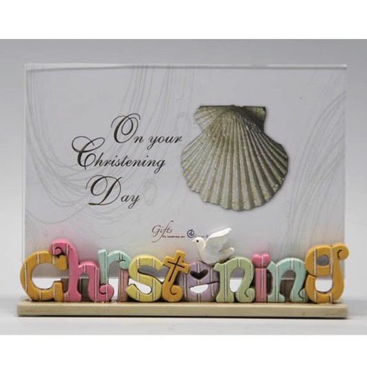 Colourful Words Christening Photo Frame