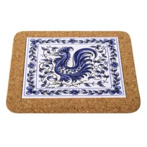 Cork Backed Tiles Blue Rooster Trivet
