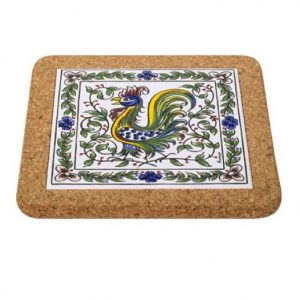 Cork Backed Tiles Colour Rooster Trivet