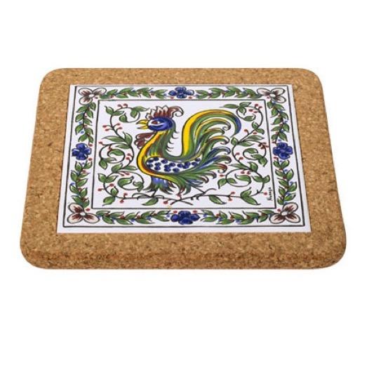 Cork Backed Tiles Colour Rooster Trivet