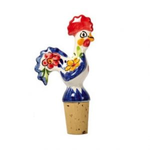 Portuguese Blue And White Rooster Cork Top