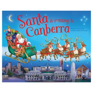 Santa can't visit you until you fall asleep, so snuggle up and read what happens on Christmas Eve in this beautiful Santa is Coming to Canberra Book.