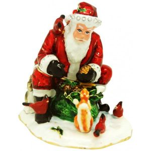 Santa Feeding Animals Trinket Box