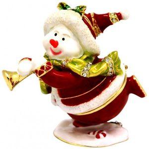 Xmas Snowman With Bugle Trinket Box