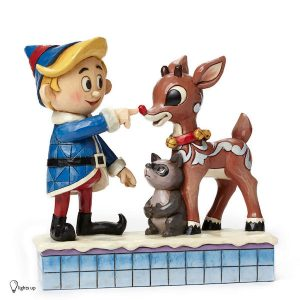 Jim Shore Hermey And Rudolph With Lighted Nose