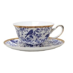 Bird Cup And Saucer Blue And White
