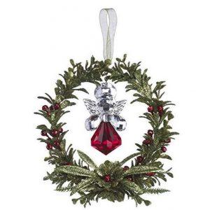 Kissing Krystals Red Angel Mistletoe Wreath Hanging