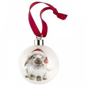 Wrendale Ho Ho Ho Rabbit Christmas Bauble