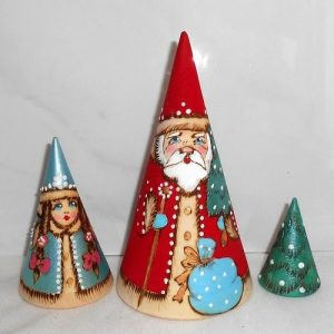 Santa Conical Shape Babushka Dolls 3 Piece