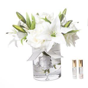 Côte Noire Luxury Lilies & Roses White Silver Badge