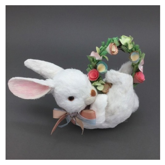 White Bunny With Wreath