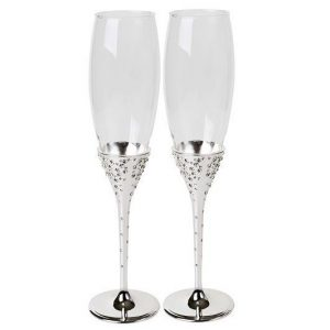 Champagne Flutes Silver Plated With Crystals