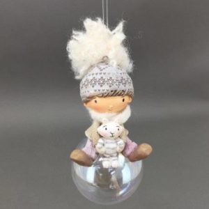 Boy Holding Rabbit Hanging Ornament