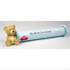 Teddy Baby Boy Birth Certificate Holder