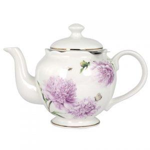 Ashdene Pink Peonies Teapot & Metal Infuser