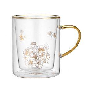 Ashdene Honey Bee Glass Double Walled Mug
