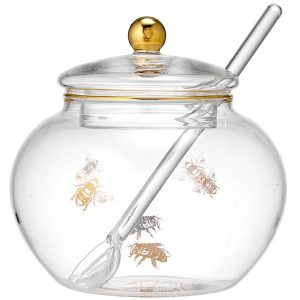 Ashdene Honey Bee Glass Sugar Bowl With Spoon