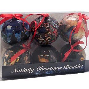 Christmas Bauble Nativity Set 60mm
