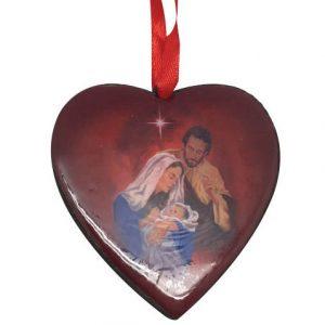 Christmas Heart Ornament - Holy Family