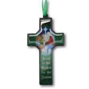 Christmas Cross Ornament - Jesus Is Reason 10cm