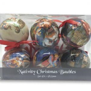 Christmas Nativity Bauble Set 75mm
