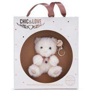 Bailey Bear Bag Charm & Necklace Gift Set - December