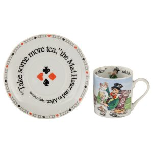 Cardew Designs Alice In Wonderland Looking Mad Hatter And Friends Cup And Saucer