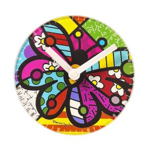 Romero Britto Glass Clock and Table Stand - Butterfly