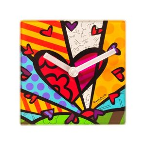 Romero Britto Glass Clock and Table Stand - A New Day