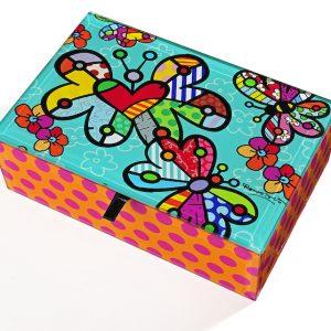 Romero Britto Glass Keepsake Box Butterflys